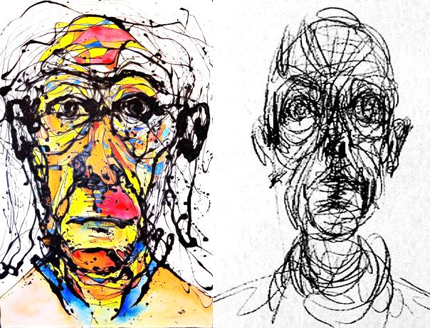 Dibujo hecho por Alberto Giacometti de su hermano Diego.
