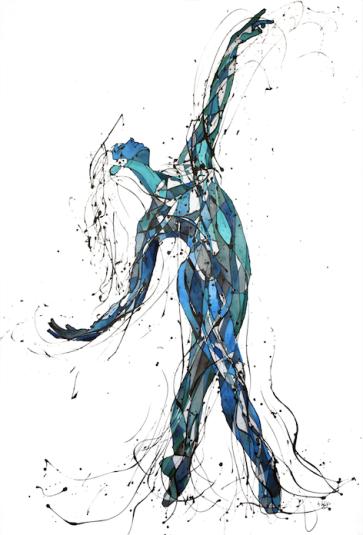 La Bailarina Elegante (Esmalte y acuarela sobre gabardina. 180 cm x 120 cm)