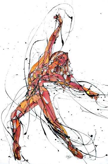 La Bailarina de Cumpleaños (Esmalte al agua y acuarela sobre crea. 100 cm x 60 cm)
