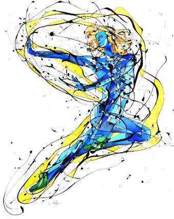 La Bailarina Libre (85 cm x 60 cm, Esmalte y acuarela sobre crea)