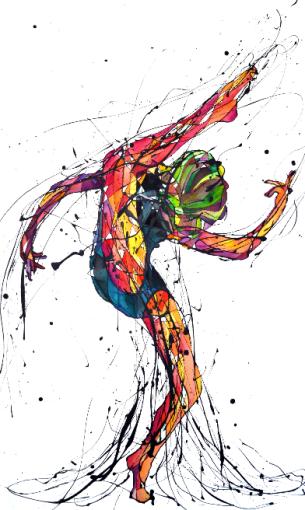 La Bailarina Feliz (Esmalte al agua y acuarela sobre crea. 100 cm x 59 cm)