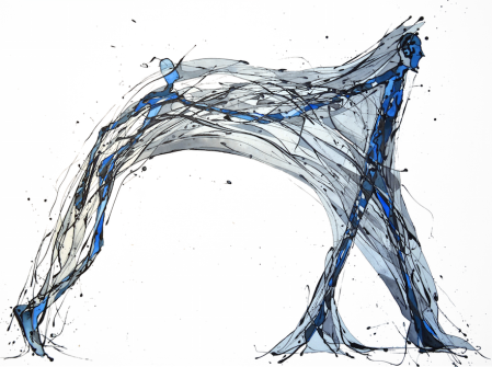 Artificio para sobrellevar el Pasado, encargo para editorial Caliope (Esmalte al agua y acuarela sobre género trevira. 90 cm x 130 cm)