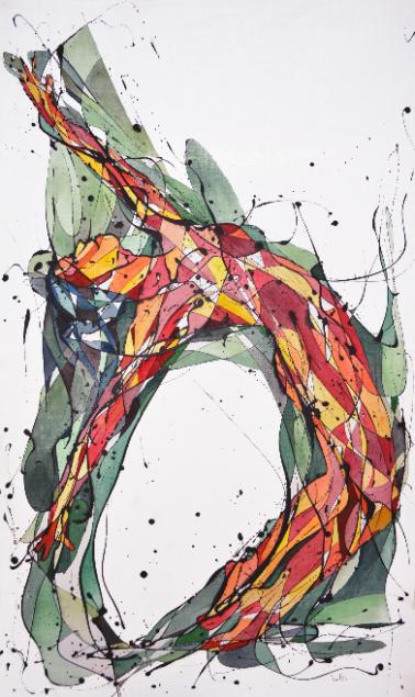 La Bailarina Despreocupada (Esmalte al agua y acuarela sobre género trevira. 97 cm x 59 cm)