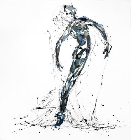 La Bailairina de la Triste Figura (Esmalte y acuarela sobre trevira 130 cm x 120 cm)