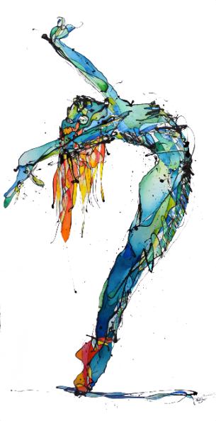 Bailarina Azul (Esmalte y acuarela sobre trevira 115 cm x 230 cm)