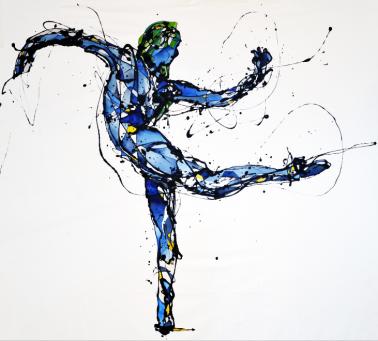 La Bailarina Huraña (Esmalte y acuarela sobre trevira 150 cm x 155 cm)