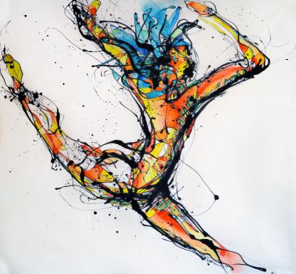 La Bailarina Paticorta (Esmalte y acuarela sobre trevira159 cm x 162 cm)