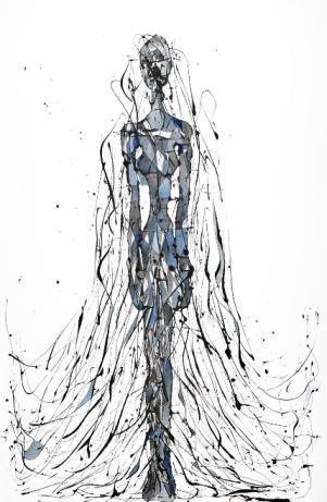 La Bailarina que hoy no tenía ganas de bailar (Esmalte al agua y acuarela sobre género trevira. 130 cm x 95 cm)