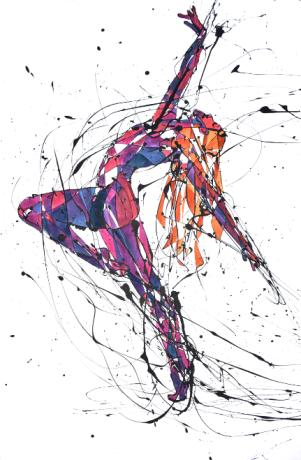 La Bailarina Colorina 1 (Esmalte y acuarela sobre trevira)