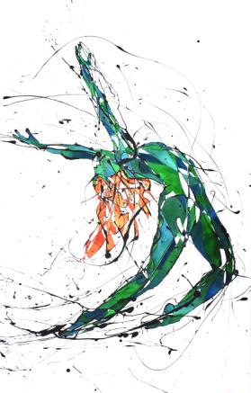 La Bailarina Colorina 2 (Esmalte y acuarela sobre trevira)
