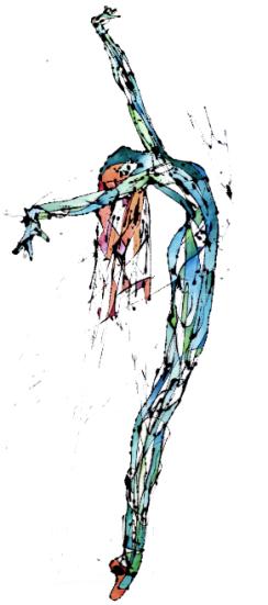 La Patilarga Azul (Látex y acuarela sobre género trevira. 240 cm x 90 cm)