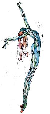 La Patilarga Azul (2014), Látex y acuarela sobre trevira. 240 cm x 90 cm