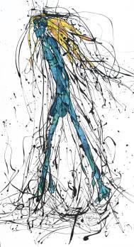 Walking Woman (2015), Esmalte y acuarela sobre gabardina. 119 cm x 64 cm (Serie Giacometti)