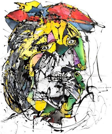 La Llorona, según Picasso (2016), Esmalte y acuarela sobre género. 105 cm x 84 cm