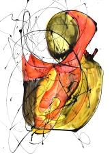 El beso II (2015), esmalte y tinta sobre papel. 61 cm x 45 cm (Serie Promiscuos)