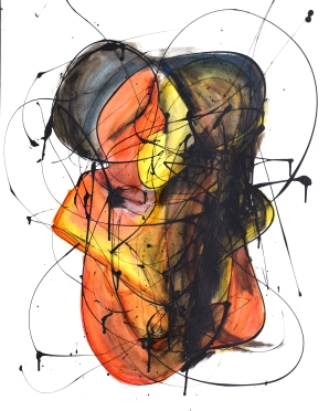 El Beso VI (2015), esmalte y tinta sobre papel. 61 cm x 45 cm (Serie Promiscuos)
