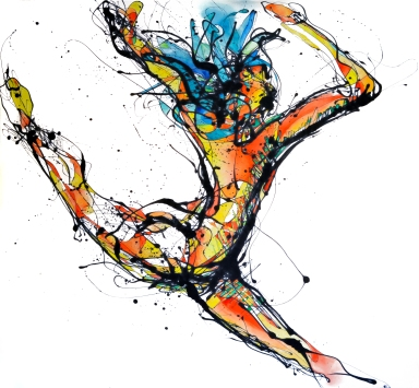 La Bailarina Paticorta (2014), Esmalte y acuarela sobre trevira. 159 cm x 162 cm